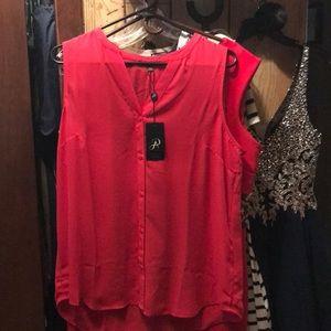 Fuchsia sleeveless blouse. By Adrianna Papell.